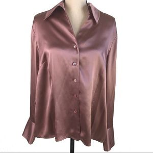 Jones New York Rose Pink Silk Button Down Blouse